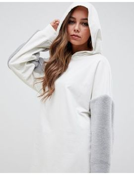 Asos Design Hoodie Sweat Dress With Faux Fur Sleeves by Asos Design