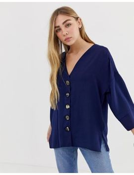 Asos Design Mixed Button Front Top by Asos Design