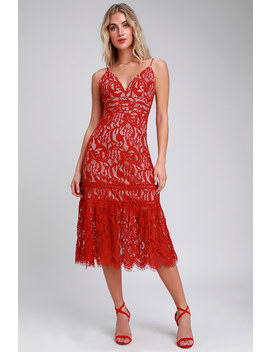Hope You Dance Red And Nude Lace Midi Dress by Lulus