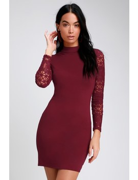 Lace Up Your Sleeve Burgundy Lace Long Sleeve Bodycon Dress by Lulus