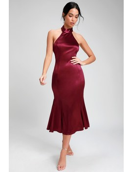 Could It Be Magic Burgundy Satin Halter Midi Dress by Lulus