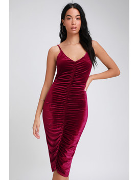 Catherine Wine Red Velvet Ruched Bodycon Midi Dress by Lulus