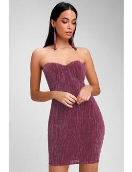 Night Drive Plum Purple Sparkly Strapless Bodycon Dress by Lulus