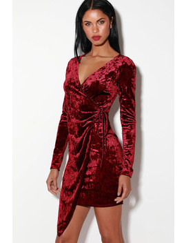 Galiana Burgundy Velvet Long Sleeve Wrap Dress by Lulus