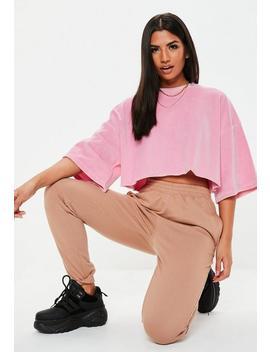 Tall Różowy Krótki Welurowy T Shirt by Missguided