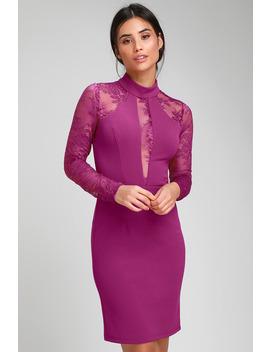 Oretha Fuchsia Lace Long Sleeve Bodycon Dress by Lulus