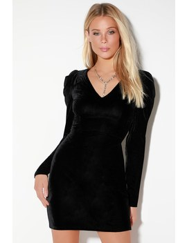 Last Night Black Velvet Long Sleeve Mini Dress by Lulus