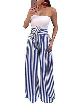 Ermonn Womens Striped Wide Leg Pants Casual High Waist Tie Knot Belted Long Palazzo Pants by Ermonn