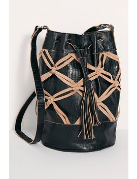 Sicilia Leather Macrame Bucket Bag by Free People