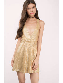 Glamour Gold Sequin Skater Dress by Tobi