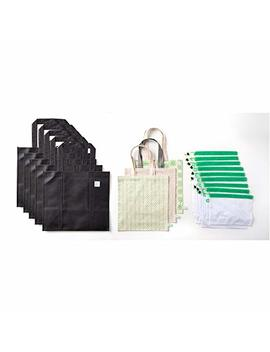 Go Green Bags 17 Pack Reusable Bags: Reusable Grocery Bag | Mesh Produce Bag | Natural Cotton Tote Bag | 5 Sizes| 5 Designs | Eco Friendly Grocery Bag Combo | Plastic Free Shopping Bundle by Go Green Bags