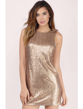 Promises Gold Sequin Shift Dress by Tobi
