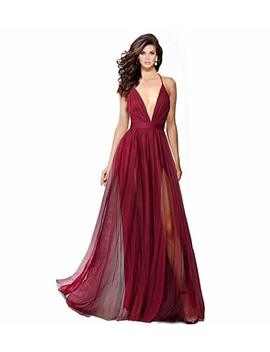 Alluring Deep V Neckline Spaghetti Straps Criss Cross Open Back Tulle Dual Front Slits Evening Prom Formal Dress by Sumintras