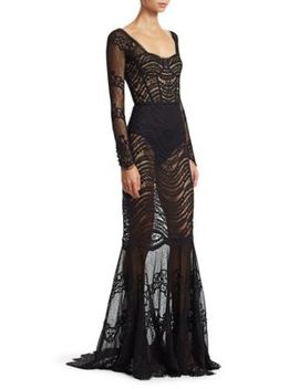 Mixed Lace Bustier Gown by Jonathan Simkhai