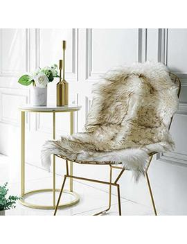 Iisutas Faux Fur Sheepskin Rug,Fluffy Chair Seat Cover Floor Mat Carpet Area Rugs For Living Room   2 Ft X 3 Ft, White With Brown Tips by Iisutas