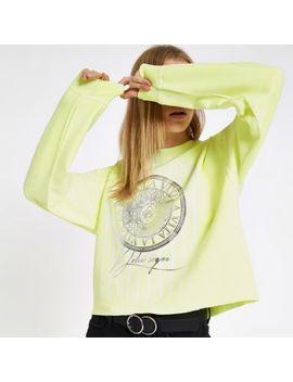 Yellow 'La Vita' Print Long Sleeve Sweatshirt by River Island