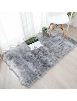 Soft Faux Sheepskin Fur Chair Couch Cover Area Rug,Children Play Carpet Fur Bedroom Floor Sofa Living Room 2 X 3 Feet (Grey) by Hymyus