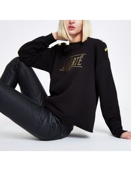 Black 'Liberte' Button Shoulder Sweatshirt by River Island