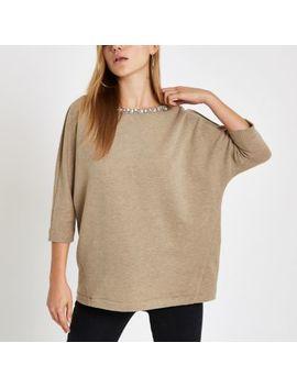 Beige Embellished Trim Sweatshirt by River Island