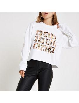 White 'Luxe' Leopard Print Sweatshirt by River Island
