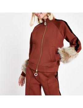 Ri Studio Rust Faux Fur Cuff Tracksuit Jacket by River Island