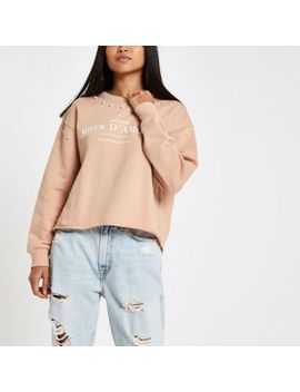 Petite Pink 'Mots D'amour' Pearl Sweatshirt by River Island