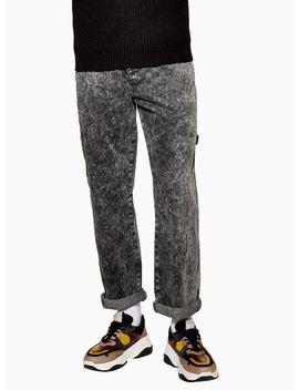 Grey Acid Wash Carpenter Jeans by Topman