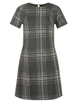 Grey Checked Jersey Fit And Flare Dress by Dorothy Perkins