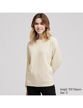 Women Waffle Knit Crew Neck Long Sleeve T Shirt by Uniqlo