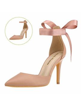 Women's Heel Pumps Strappy Stiletto Pointed Toe High Heel Dress Shoes With Ankle Strap Ribbon by Heels Charm