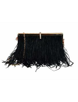 L'vow Women' Ostrich Feather Evening Clutch Bridal Handbag Shoulder Bag For Wedding Party by L'vow