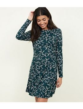 Green Floral Soft Touch Skater Dress by New Look
