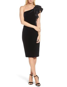One Shoulder Velvet Sheath Dress by Eliza J