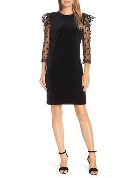 Dot Mesh Sleeve Velvet Shift Dress by Julia Jordan