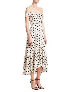 Off Shoulder Polka Dot Print Midi Dress by Johanna Ortiz