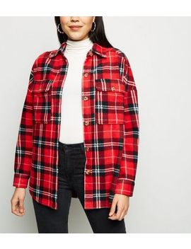 Red Check Fleece Oversized Shirt by New Look