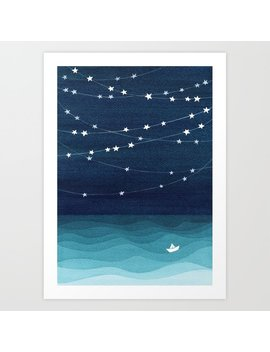 Garlands Of Stars, Watercolor Teal Ocean Art Print by