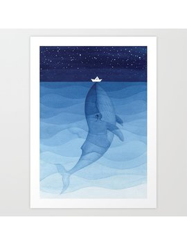Whale Blue Ocean Art Print by