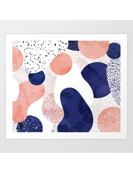 Terrazzo Galaxy Pink Blue White Art Print by
