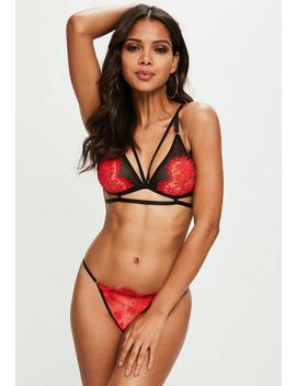 Red Eyelash Lace Harness Bra by Missguided