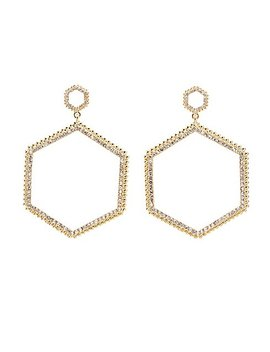 Crystal Geometric Drop Earrings by Charlotte Russe