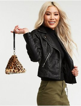 Leopard Faux Fur Triangle Clutch by Charlotte Russe