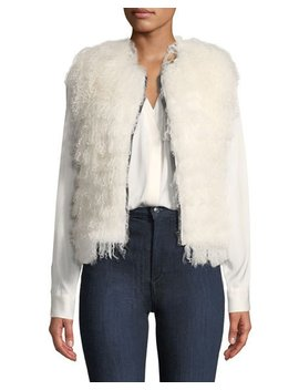 Reversible Shaggy Lamb Shearling Vest by Adrienne Landau