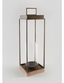 Tall Brass Lantern (53cm X 17cm X 17cm) by Matalan
