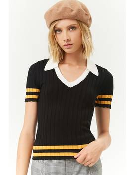 Ribbed Jumper Knit Varsity Top by Forever 21
