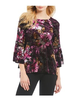 Burnout Velvet Floral Print Bell Sleeve Blouse by Cupio