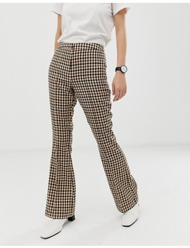 Asos Design   Pantalon Slim évasé à Carreaux Sur Fond Clair by Asos Design