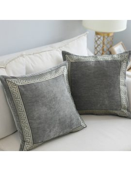 Embroidery Grey Pillow Case Home Living Room Comfortable Hotel Home Supplies Pillow Cover 60*60cm/45*45cm Soft Pillowcase by Y Jiang