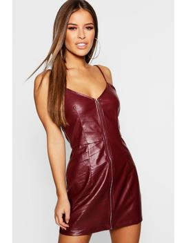 Petite Zip Front Pu Bodycon Dress by Boohoo