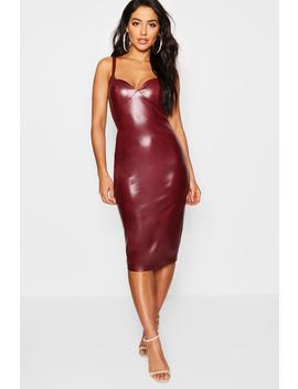 Pu Strappy Midi Bodycon Dress by Boohoo